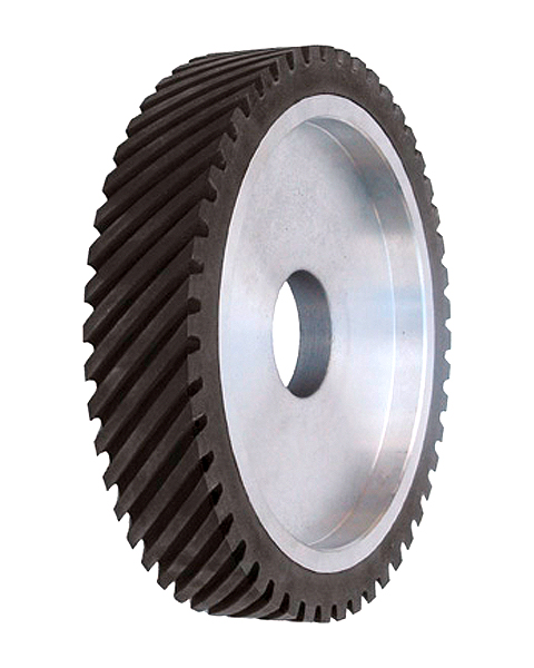 ELAX® GOL, Contact wheels for belt grinding. Contact Wheels with grooved cushion, elastic foam cushion, made of foam flaps.
