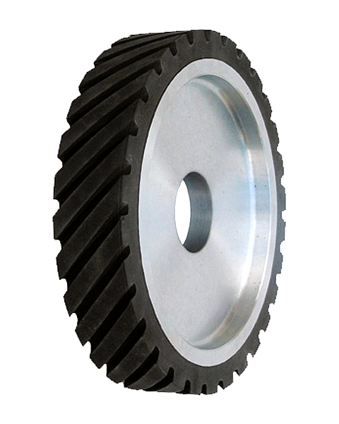 ELAX® GOR, Contact wheels for belt grinding. Contact Wheels with grooved cushion, elastic foam cushion, made of foam flaps.