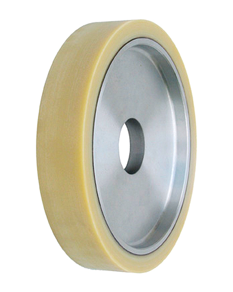 ELAX® V, Contact wheels for belt grinding. Contact Wheels with grooved cushion, elastic foam cushion, made of foam flaps.