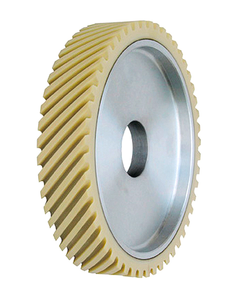 ELAX® VL, Contact wheels for belt grinding. Contact Wheels with grooved cushion, elastic foam cushion, made of foam flaps.