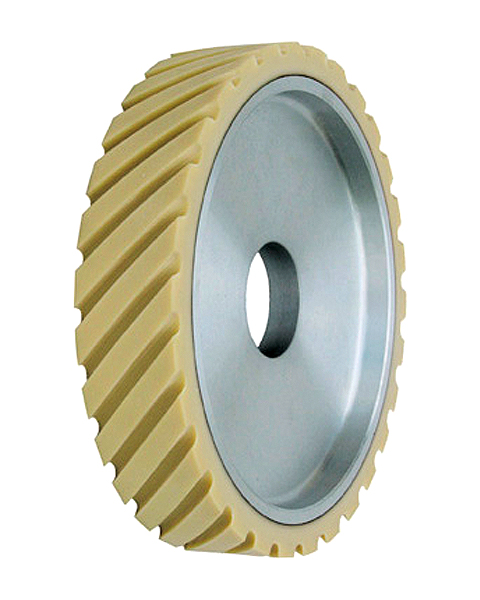 ELAX® VR, Contact wheels for belt grinding. Contact Wheels with grooved cushion, elastic foam cushion, made of foam flaps.