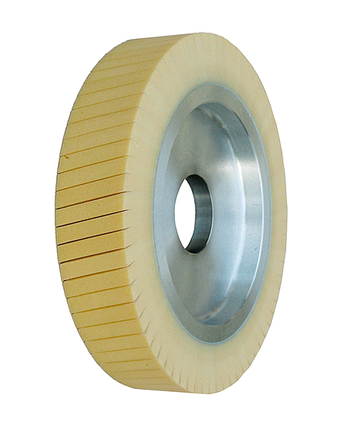 Ventiflex® H, Contact wheels for belt grinding. Contact Wheels with grooved cushion, elastic foam cushion, made of foam flaps.