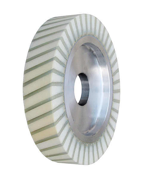 Ventiplast, Contact wheels for belt grinding. Contact Wheels with grooved cushion, elastic foam cushion, made of foam flaps.